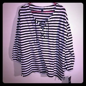 NEW Women's Chaps Navy White Striped Top Size Med
